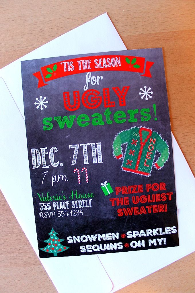Ugly Sweater Party Customizable Invitation + $130 CASH Giveaway ...