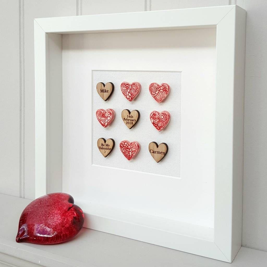 Pottery Wedding Anniversary Gifts: Valentine's Day Love Hearts Pottery Artwork