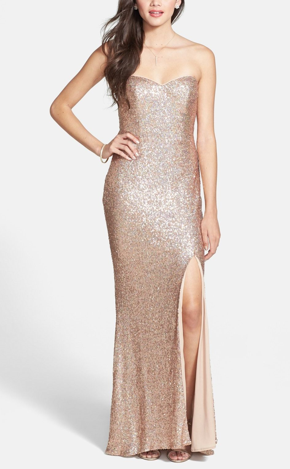 This champagne colored sequin gown would be stunning for prom ...
