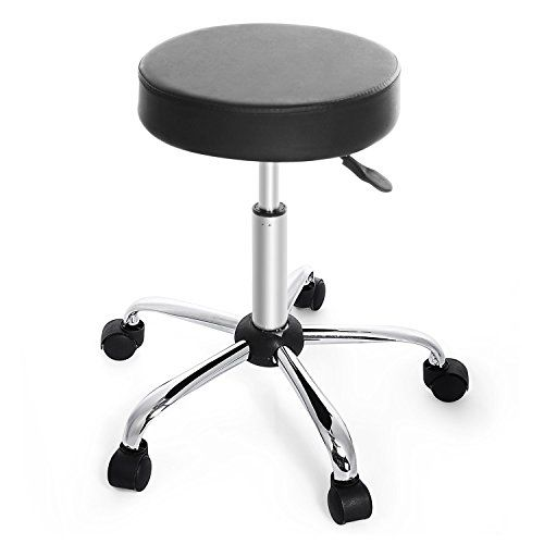 Adjule Height Round Bar Stool With Caster Wheels 2 Colors