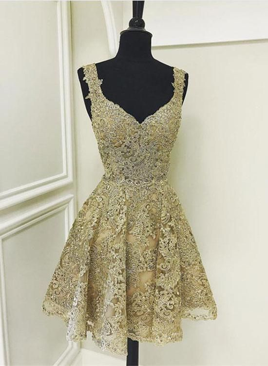 8384c4a756 Cute gold lace v neck short prom dress