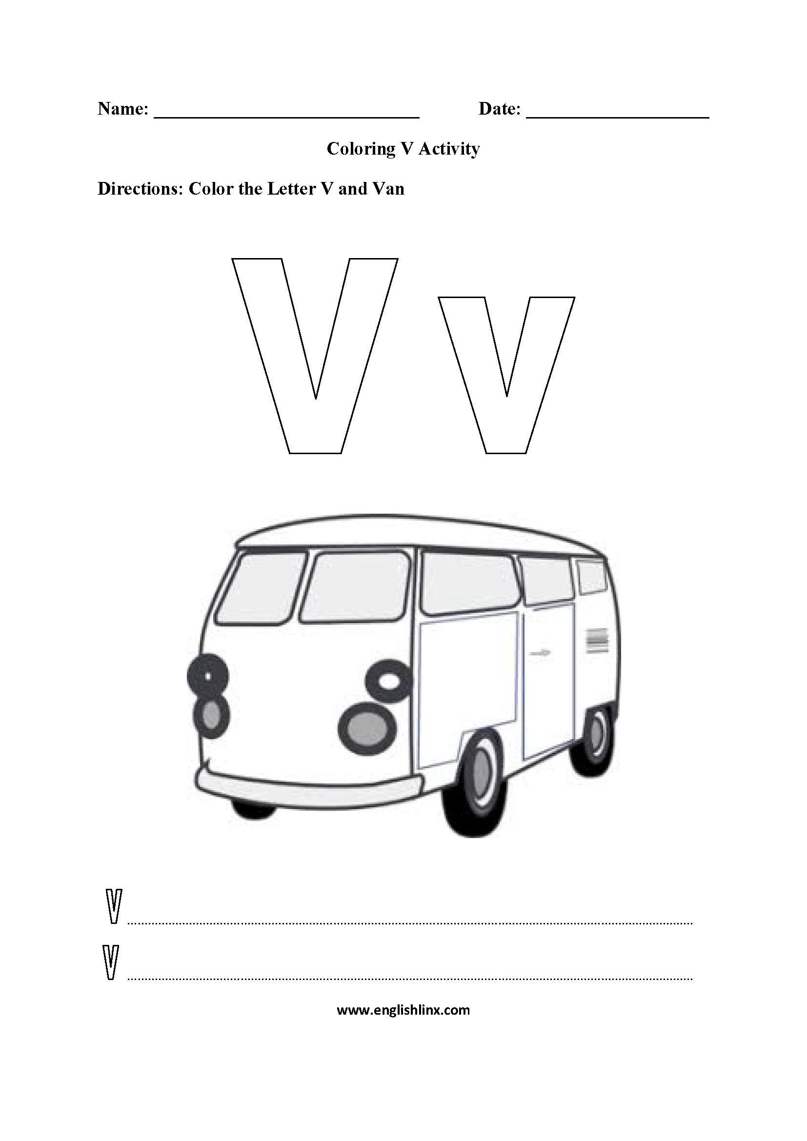 5 Alphabet Worksheets Teaching Va Worksheet In 2020 Alphabet Worksheets Transportation Worksheet Color Worksheets