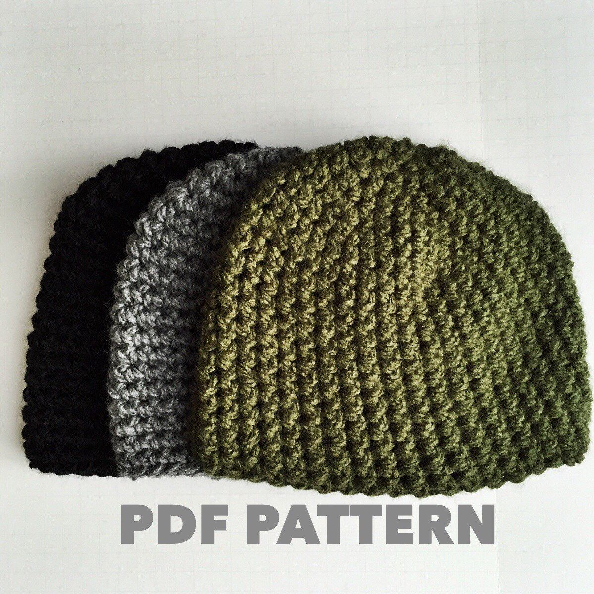 One Hour Mens Beanie Crochet Pattern Bulky Gray Mens