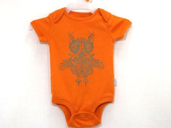 Steampunk Baby onesie Bronze Owl Pumpkin Bodysuit by TeezLoueez
