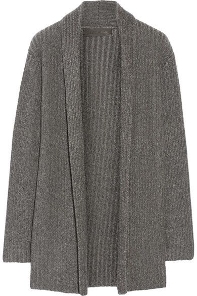 The Elder Statesman - Ribbed-knit Cashmere Cardigan - Dark gray ...