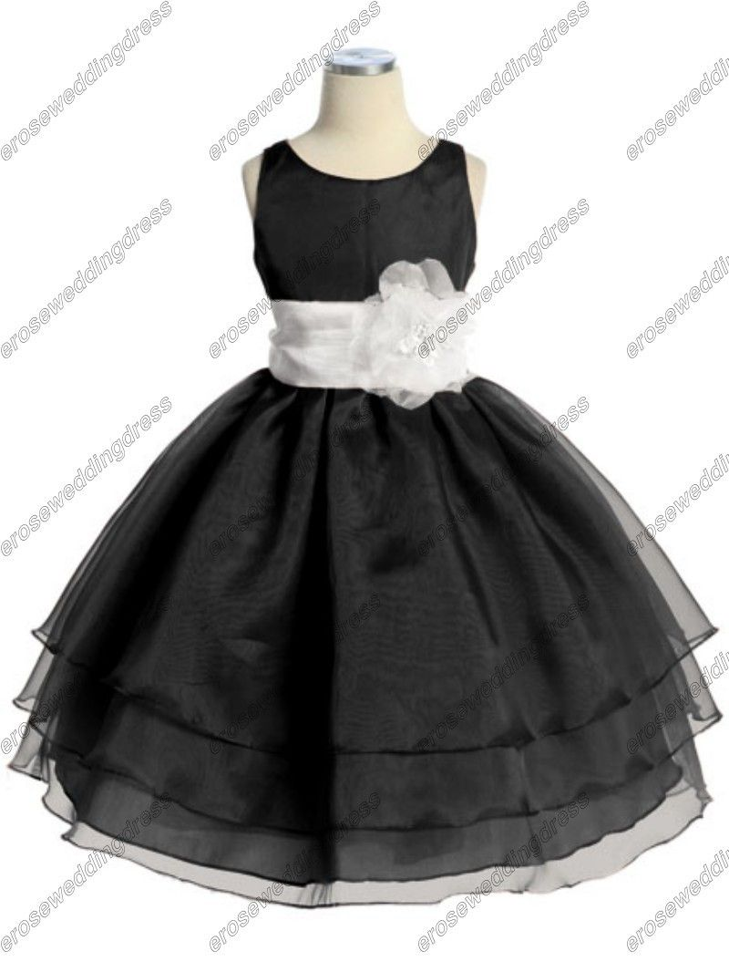 29d20f6e0e1 CY-009 A-line Organza Black And White Flower Girls Dresses With Flower Sash   69.00