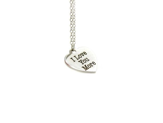 I Love You More Necklace, Charm Necklace, Delicate Necklace, Gifts For Her, Silver Necklace, Gift Under 20, I Love More Pendant, I Love You