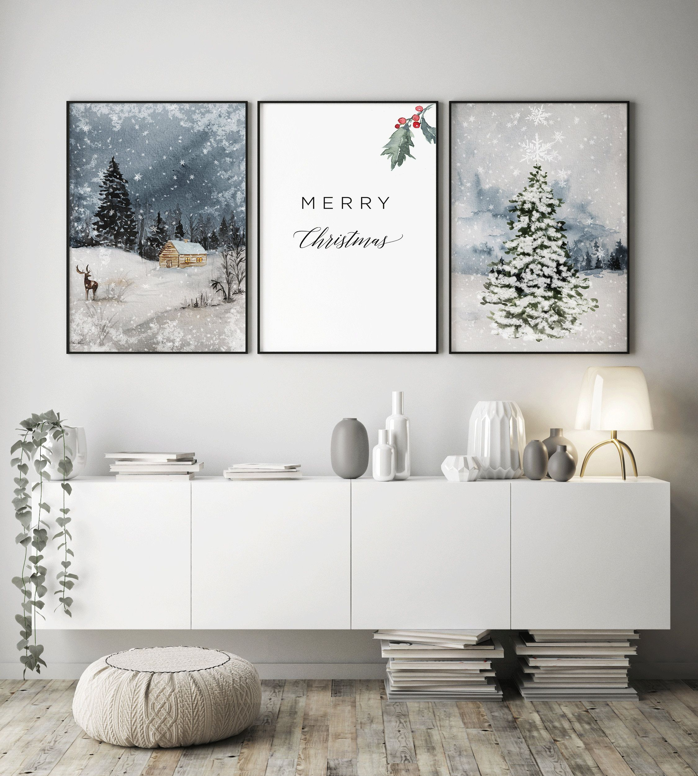 Christmas Wall Artchristmas Printable Setmerry Etsy 3 Piece Wall Art Floral Wall Art Prints Floral Bedroom Decor