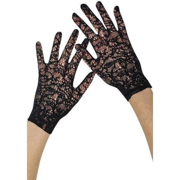 48e7dc4cb Black Vintage Lace Fancy Wedding Wrist Gloves ($15) ❤ liked on Polyvore  featuring accessories, gloves, black, fingerless, formal gloves, lace up  gloves, ...