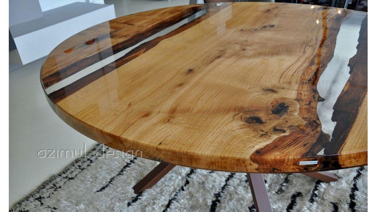Tavolo realizzato da azimut resine con resina trasparente for Tavolo legno resina