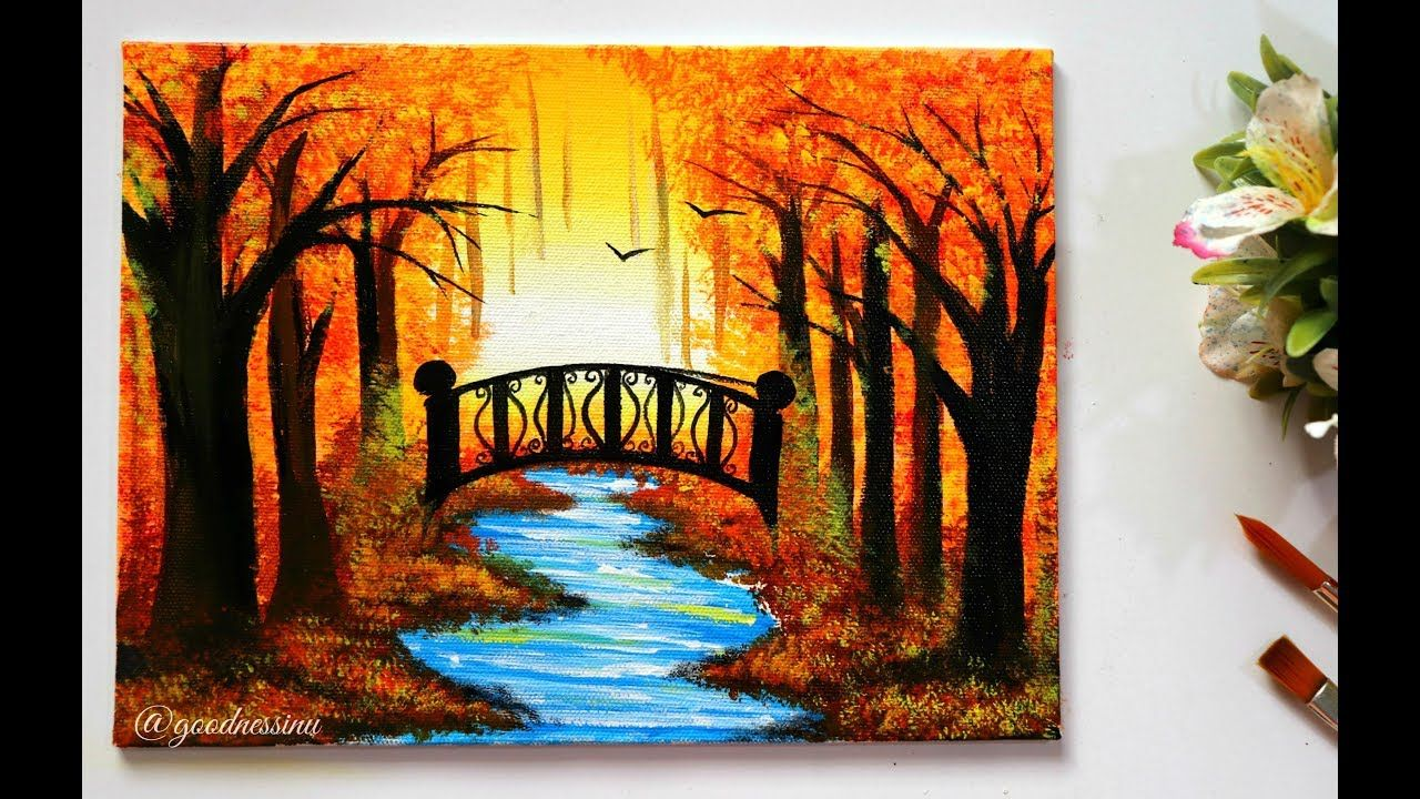 Step By Step Autumn Landscape Painting Tutorial For Beginners Landscape Painting Tutorial Landscape Paintings Acrylic Beginner Painting