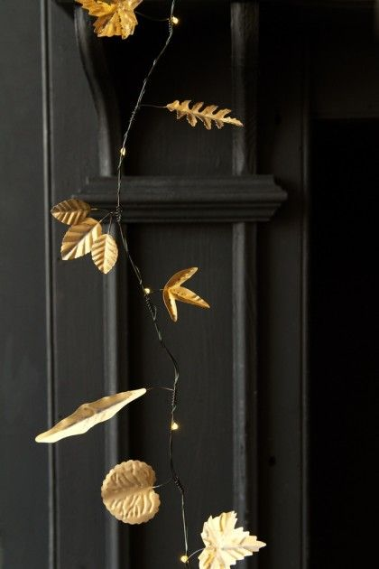 Gold metal leaf garland light chain from rockett st george