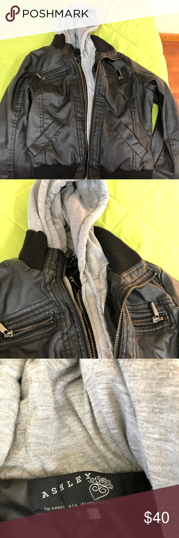 Black leather jacket with gray hoodie attached Grey