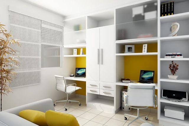 um lado para o escritório e o outro pode ser para artesanato ou costuras. Sofá cama para hóspedes e o armário central fica de rouparia para a casa....perfeito!!!!