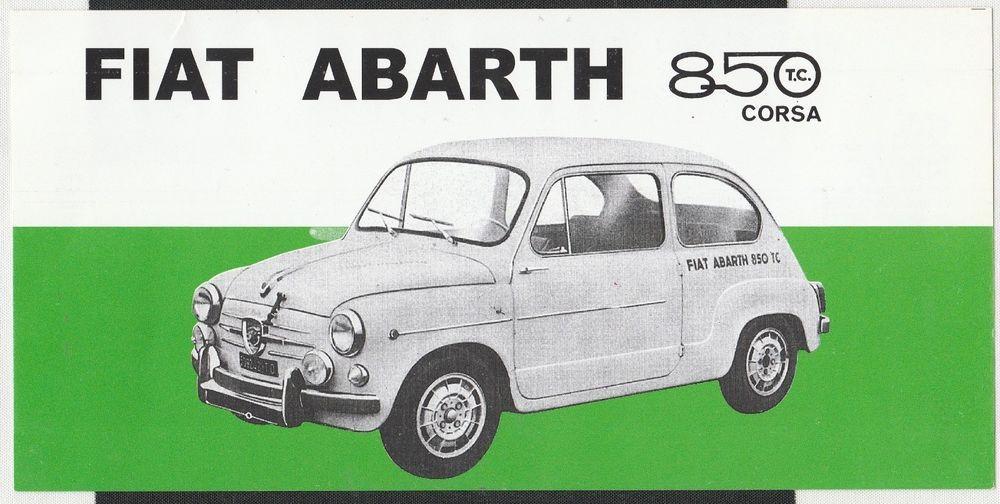 Fiat Abarth 850 Tc Corsa Sales Brochure Prospekt Overview