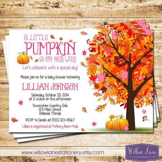 Girl Little Pumpkin Baby Shower Invitation Pink Autumn Fall Baby Shower Invite - Fall Leaves Fall Tree - Luncheon Shower
