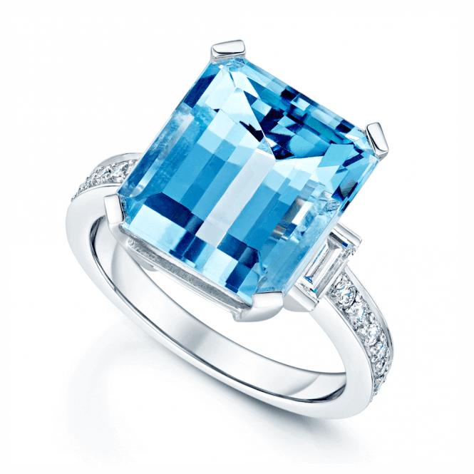 Berry's 18ct White Gold Rectangular Aquamarine & Diamond