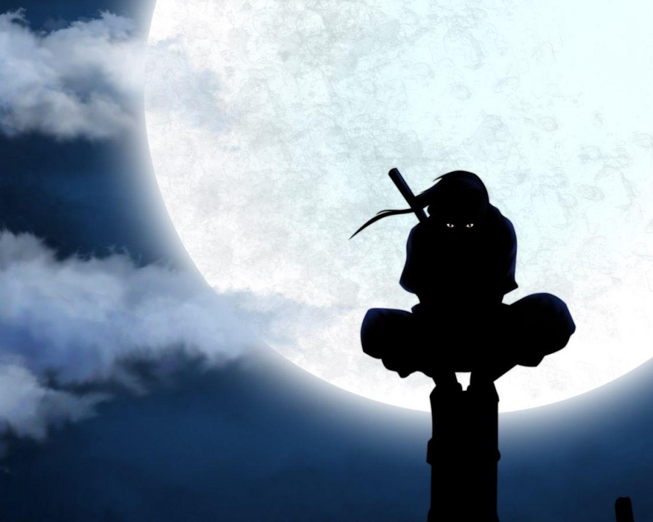 moon silhouette naruto shippuden uchiha itachi anime ninja