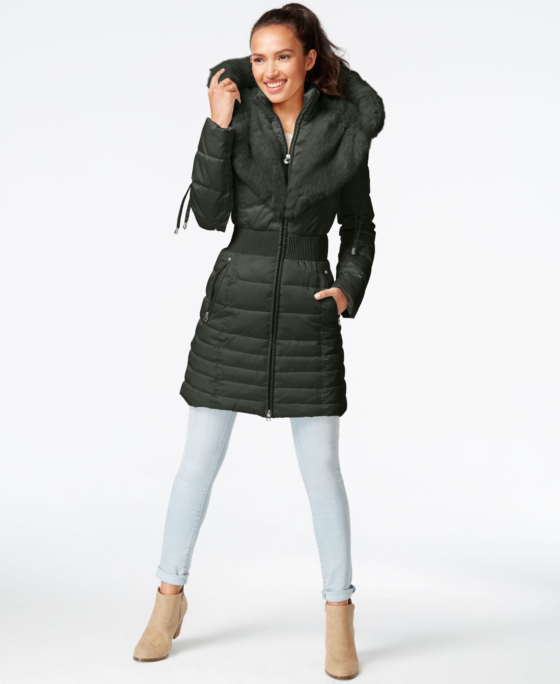f7a4105ad8fce Laundry by Shelli Segal Faux-Fur-Trim Puffer Coat