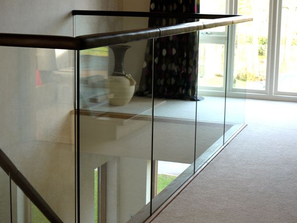 Best Glass Gallery With Leather Handrail Stair Spindles Handrail 400 x 300