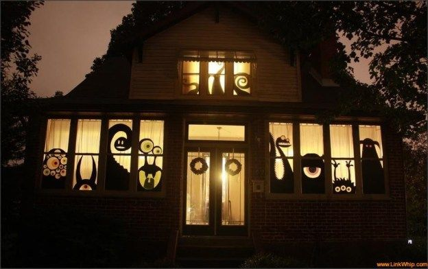 Halloween House Decorations Monster Window Party/Celebration - scary halloween house decorations