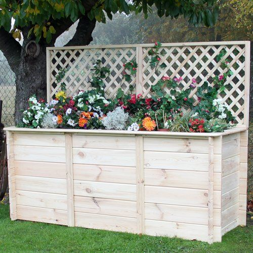 Symple Stuff Wooden Raised Flower Bed Flower Beds Wooden Garden Planters Concrete Plant Pots