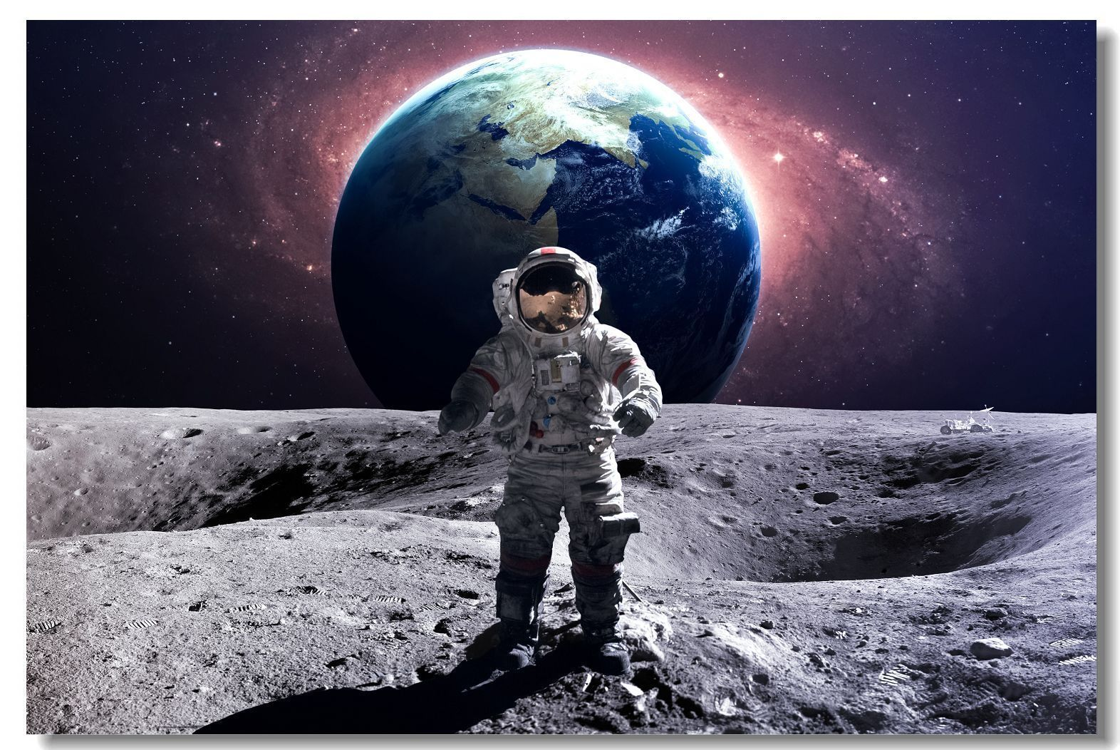 $5.99 - Poster Astronaut On The Moon In Space Earth Planet ...