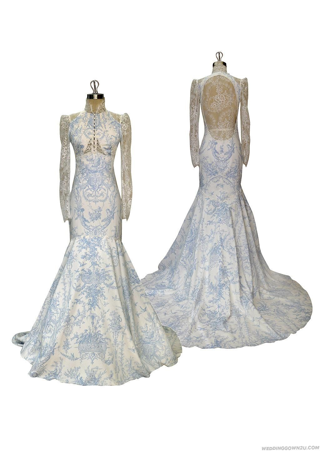 Stylish French Blue And Ivory Cotton Toile Wedding Dress Inexpensive Mermaid Gowns For Your Choice