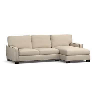 Luxury Turner Square Arm Upholstered Left Arm Sofa with Chaise Sectional with Bronze Nailheads Down Style - Beautiful square sectional sofa In 2019