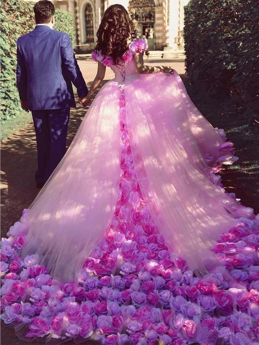 Vintage Pink Wedding Dress Off The Shoulder Floral Plus Size Wedding Dress Vb4162 Pink Wedding Gowns Pink Wedding Dresses Applique Wedding Dress [ 1200 x 900 Pixel ]