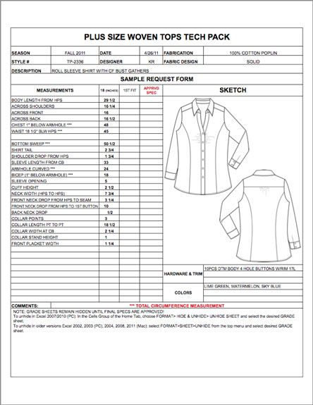 Plus Size Spec Sheet Sample - Womens, Mens, Childrens & Plus Size