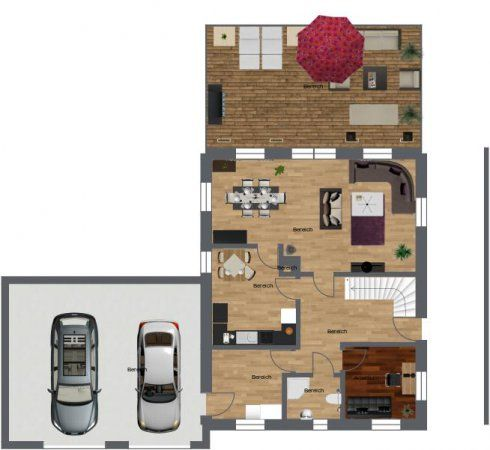 Aerial View Floor Plan For Multiple Room House With Interior And Exterior Elements And Two Car Garage Do You L House Design Interior And Exterior Floor Plans