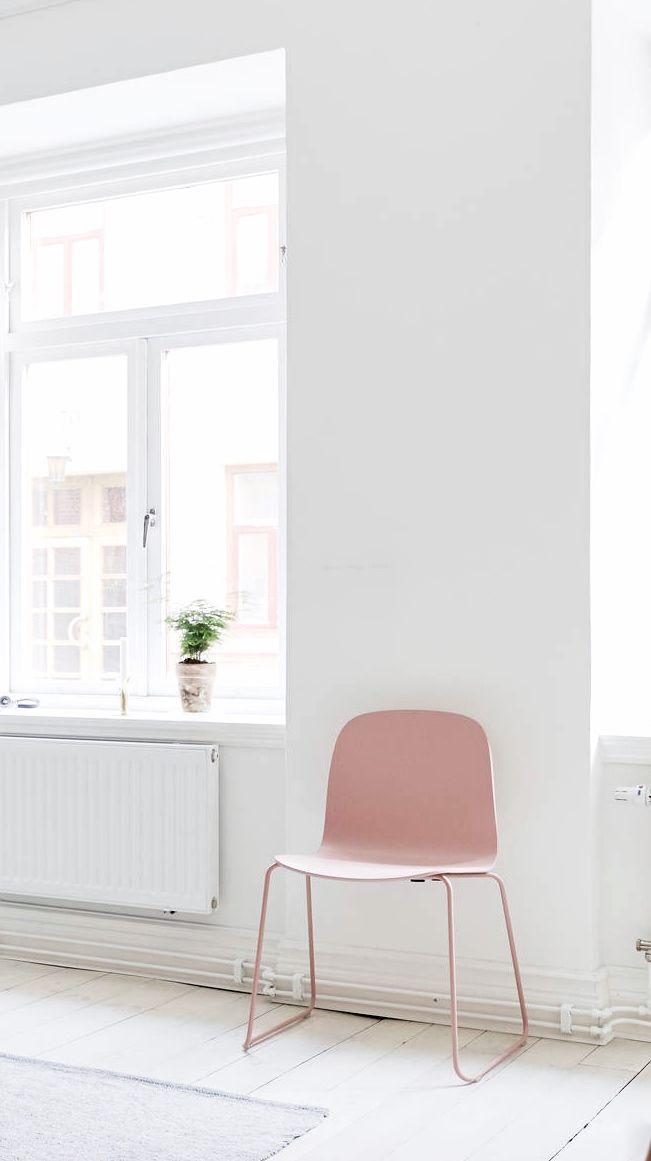 Via Stadshem Muuto Chair White And Pink Nordic Minimal Home Decor Home Pink Chair
