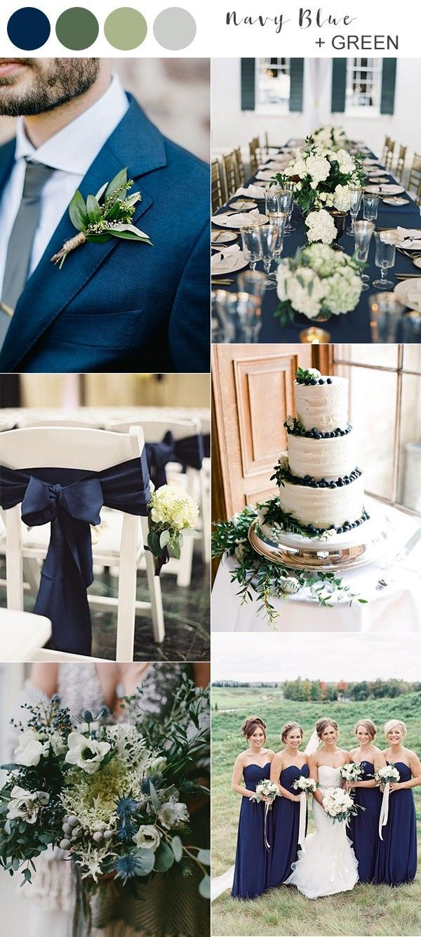 Trending30 Navy Blue and Greenery Wedding Ideas for 2020