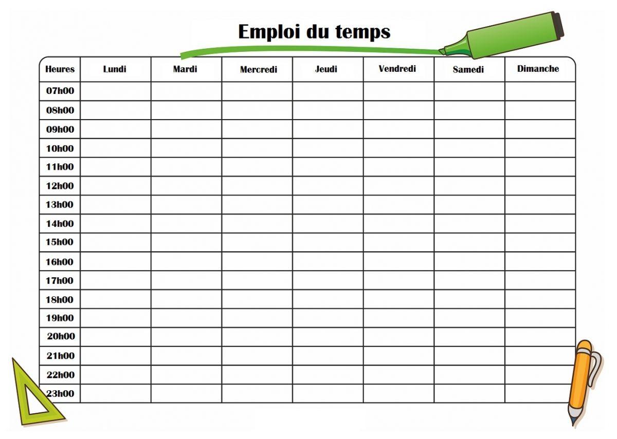 Emploi Du Temps Pour école à Imprimer Compléter Pour