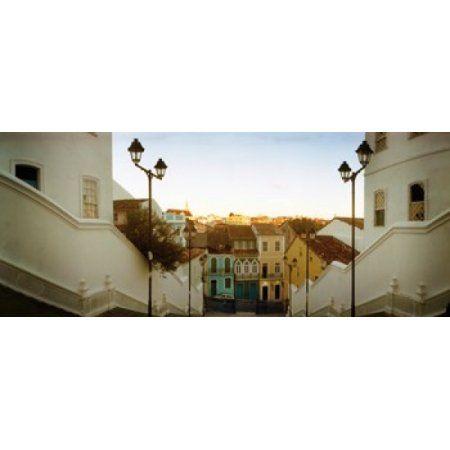 Steps leading up to Igreja do Santissimo Sacramento Do Passo Pelourinho Salvador Bahia Brazil Canvas Art - Panoramic Images (15 x 6)