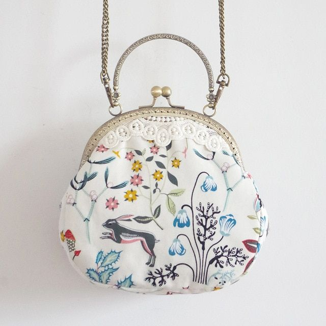 Photo of LilyHood Women Cartoon Printing Small Shoulder Bag Lace Vintage Cute Chic Fabric Cell Phone Chain Crossbody Bag Color square