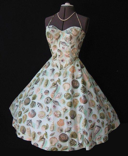 Seashell Dress Spectacular Rhinestone Accented 50 S