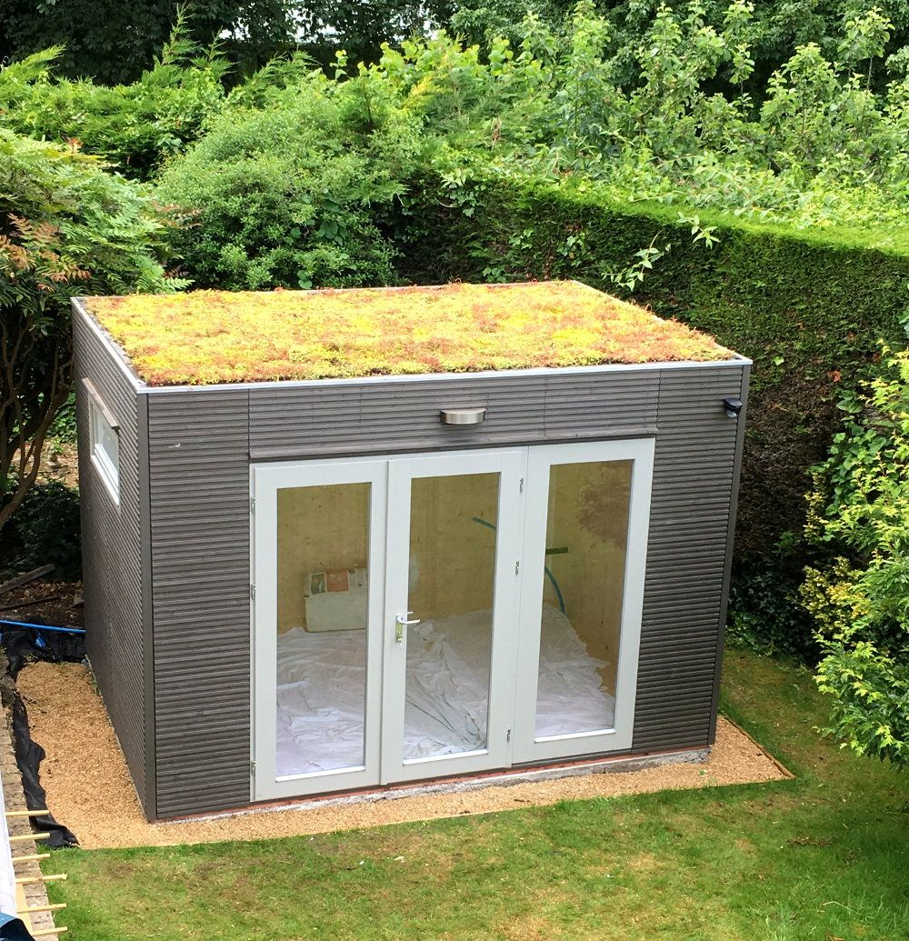 Contemporary Garden Office Or Studio With Green Sedum Roof