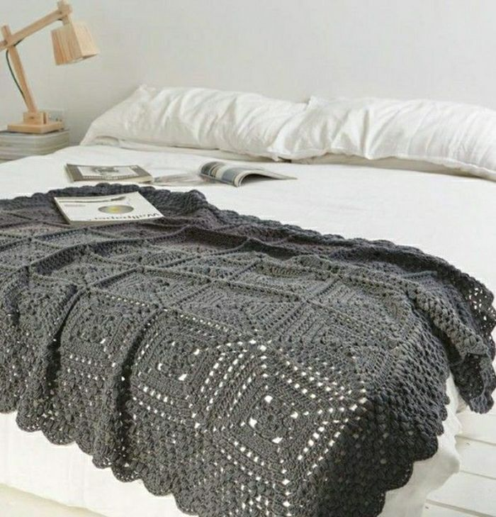 Decken Häkeln Tagesdecke Grau Resized