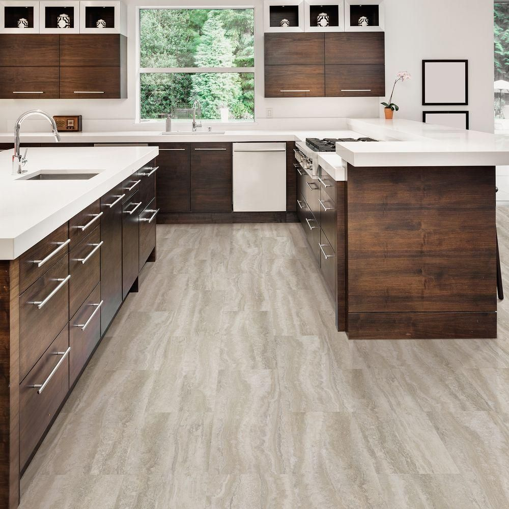 Kitchen Floor Vinyl Tiles Trafficmaster 12 In X 24 In Grey Travertine Vinyl Tile Flooring