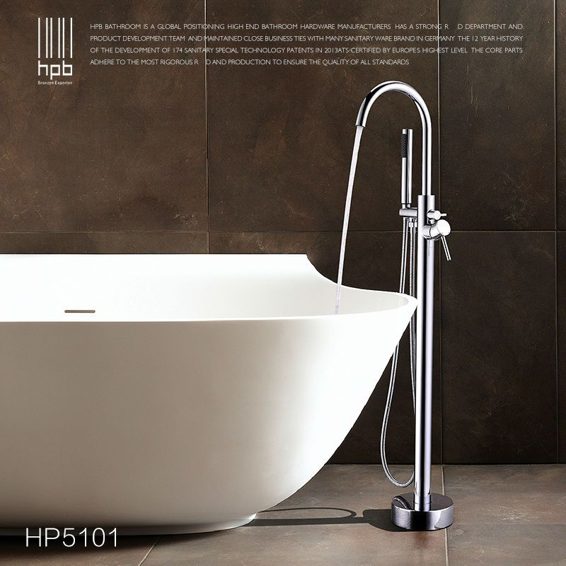 HPB Floor Mounted Brass Bathroom Hot and Cold Water torneira Shower ...
