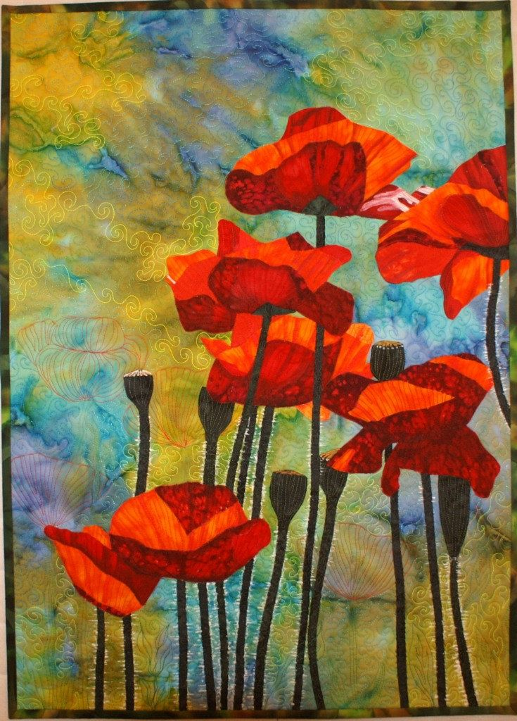 Red Poppies Pattern for Art Quilt with Fabric by Lenore Crawford. $29.95, via Etsy.