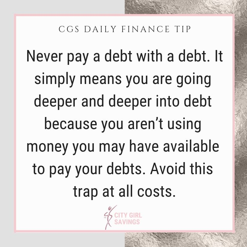 It's very important that you cover all of your #debts with money in your #bankaccount. You never want to pay a #debt with a debt because you are increasing what you owe. It may feel like you have no other option, but take a hard look at your #spending to see where the gap could be.