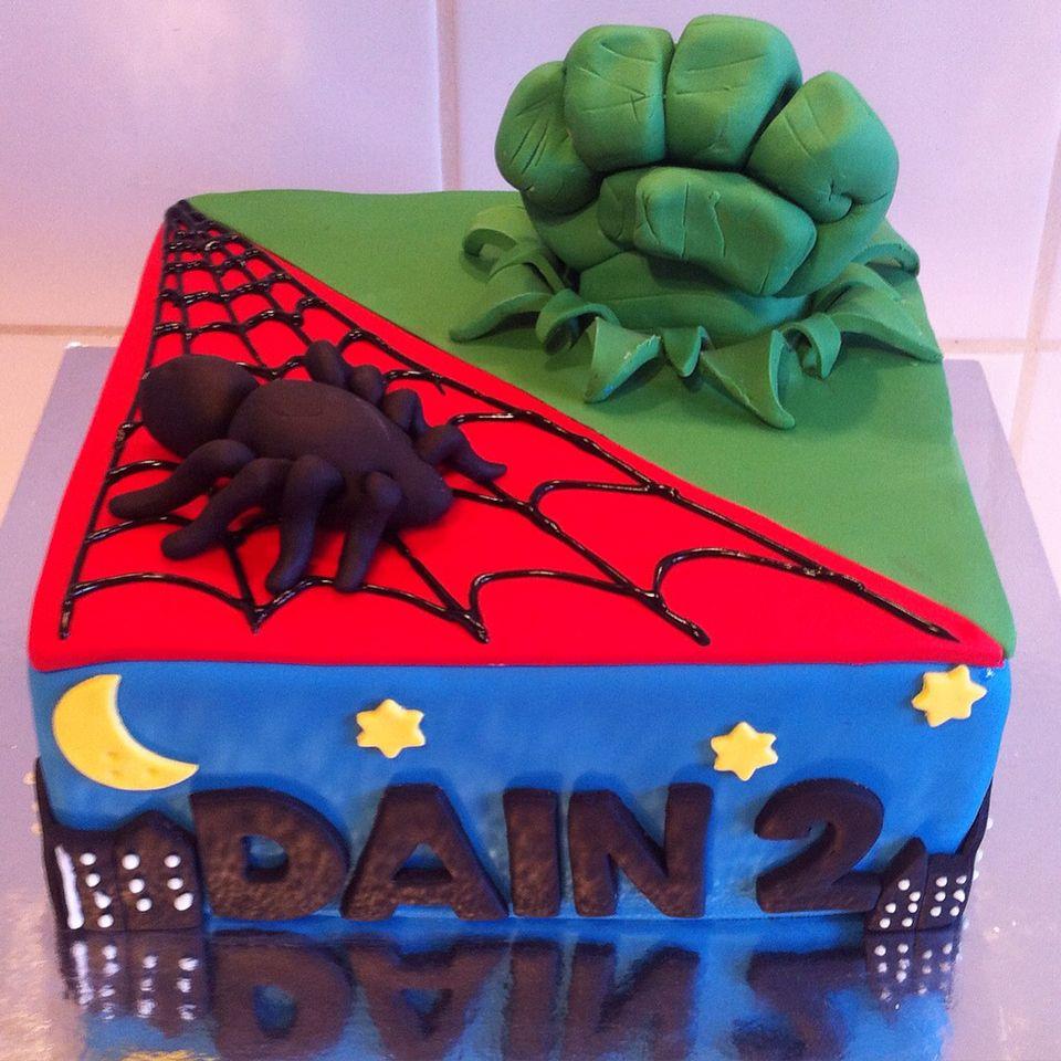 Superhero Spiderman and Incredible Hulk birthday cake cakes