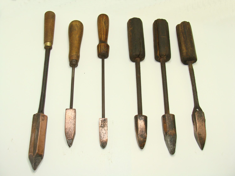 Old copper tip soldering iron tools - primitive vintage antique ...