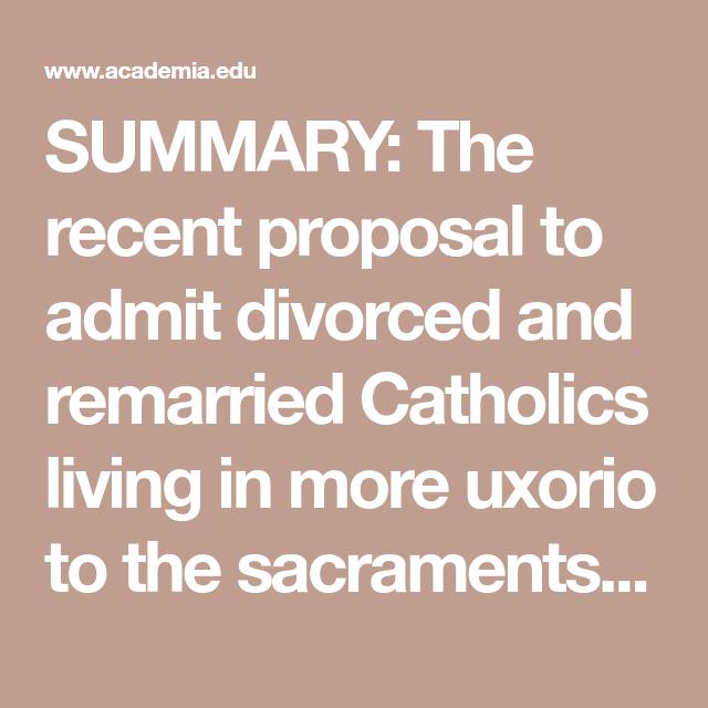 Whether The Proposal To Give Communion To Divorced And