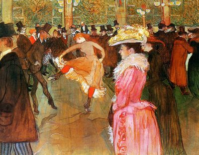 Poster made by Tolouse Lautrec at the Moulin Rouge