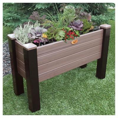 Maintenance Free Elevated Garden Bed Walnut Brown Gronomics
