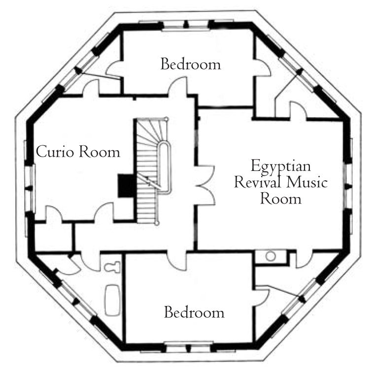 Third floor plan the armour stiner octagon house for Octagon deck plans